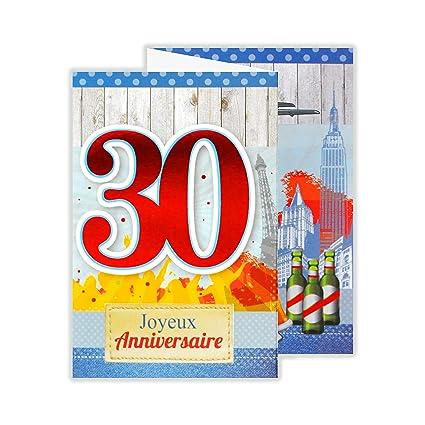 afie 882129 B tarjeta 3 Volets cumpleaños 30 años: Amazon.es ...