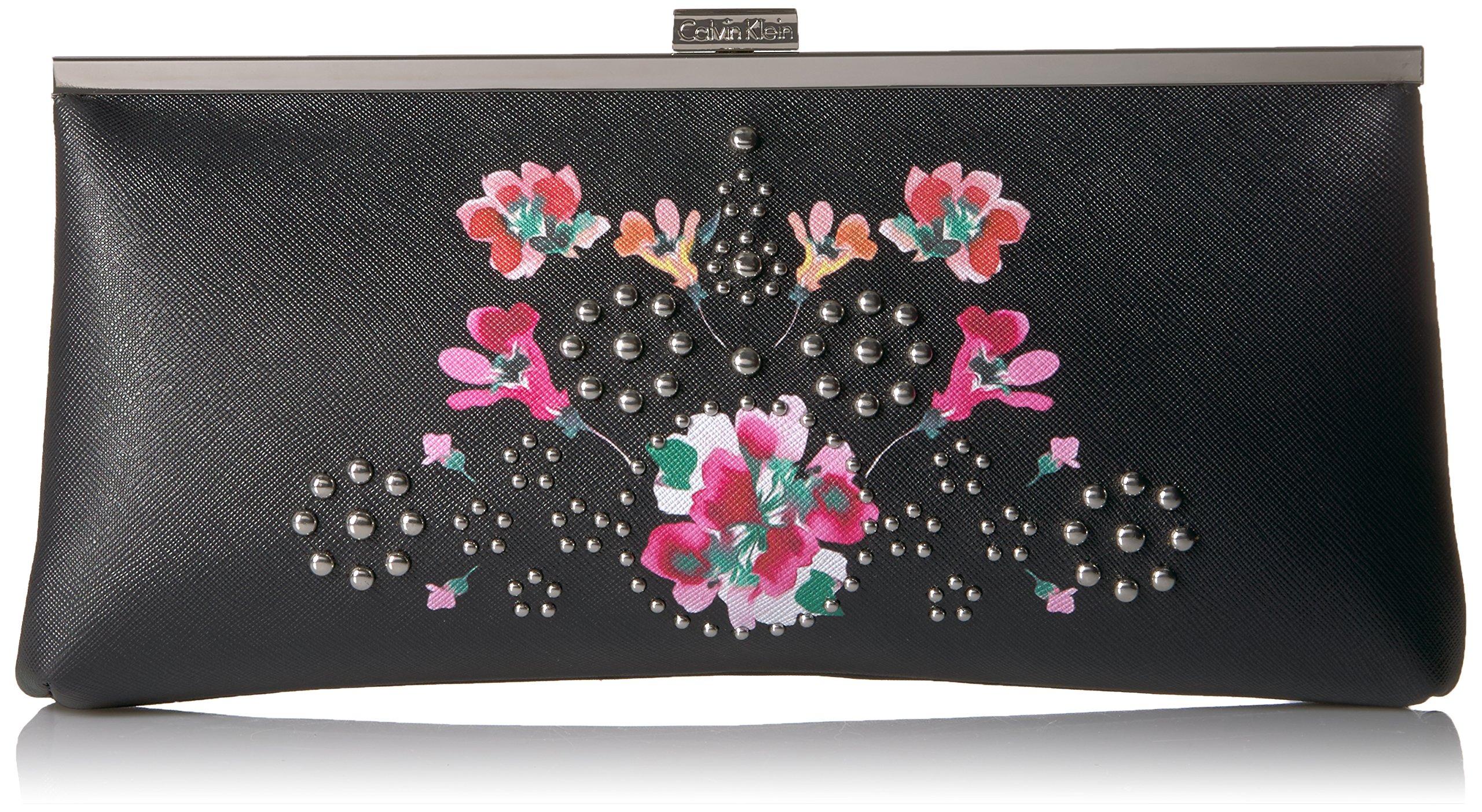 Calvin Klein Floral Printed Saffiano Clutch