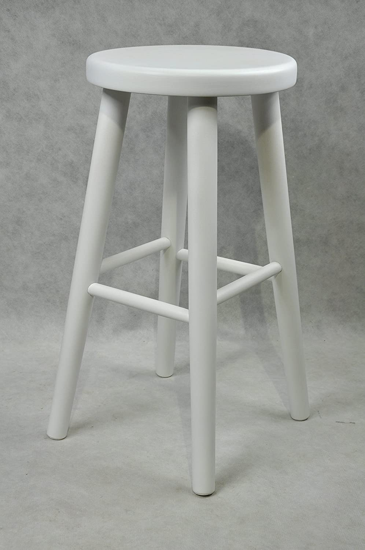 Barhocker Stück Holz Buche Küchenhocker Holzhocker Barstuhl Stuhl Weiß (60 cm)