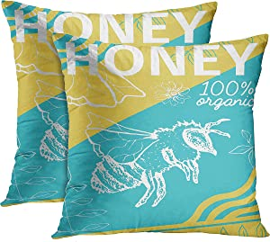 Emvency Set of 2 Throw Pillow Covers Sketch Turquoise Yellow and White Words 100% Organic Honey Bee Floral Decorative Pillow Cases Home Decor Standard Square 18x18 Inches Pillowcases