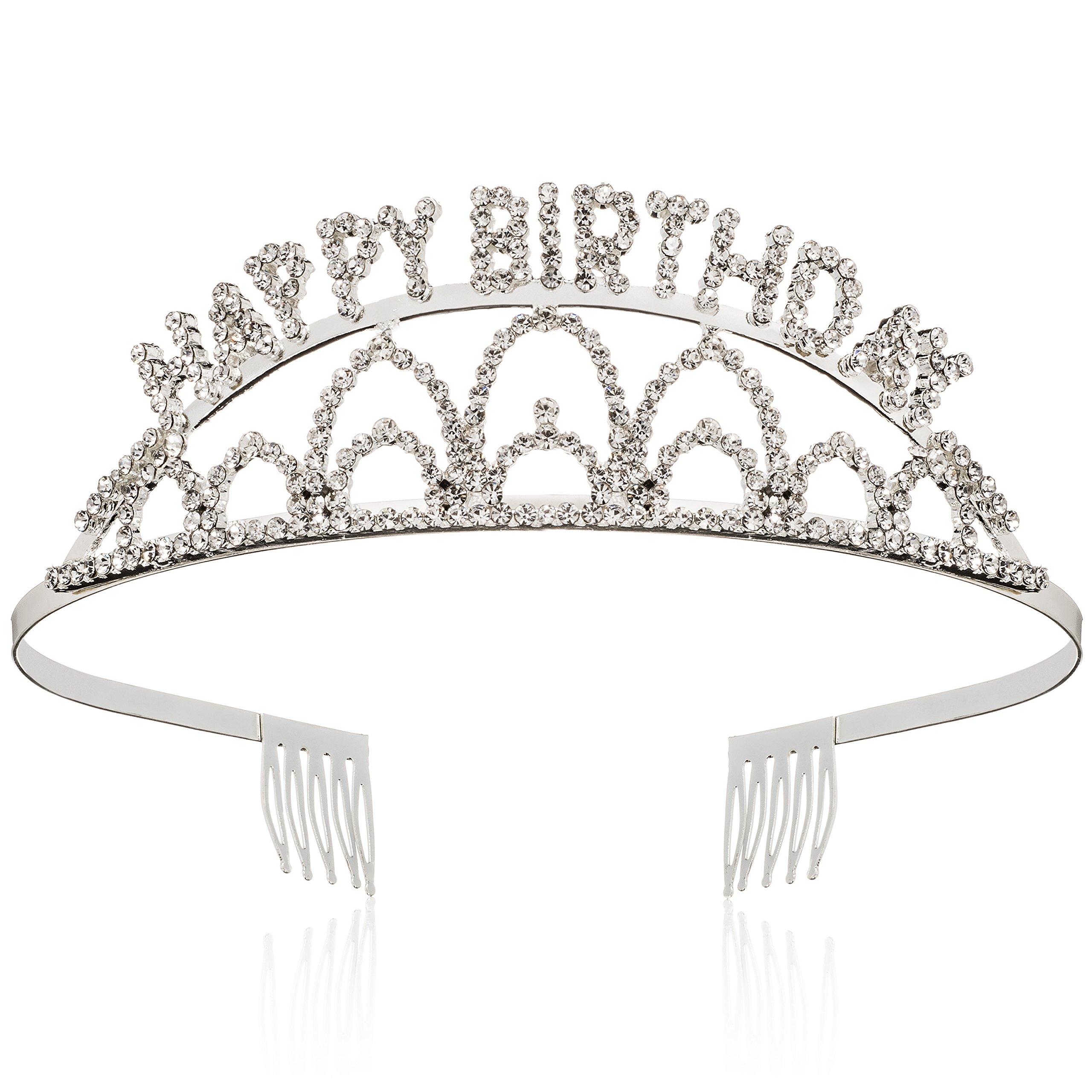 Elegant Rhinestone Happy Birthday Tiara - Premium Quality Metal Birthday Party Tiara