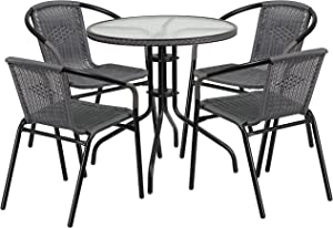 Flash Furniture 28'' Round Glass Metal Table with Gray Rattan Edging and 4 Gray Rattan Stack Chairs