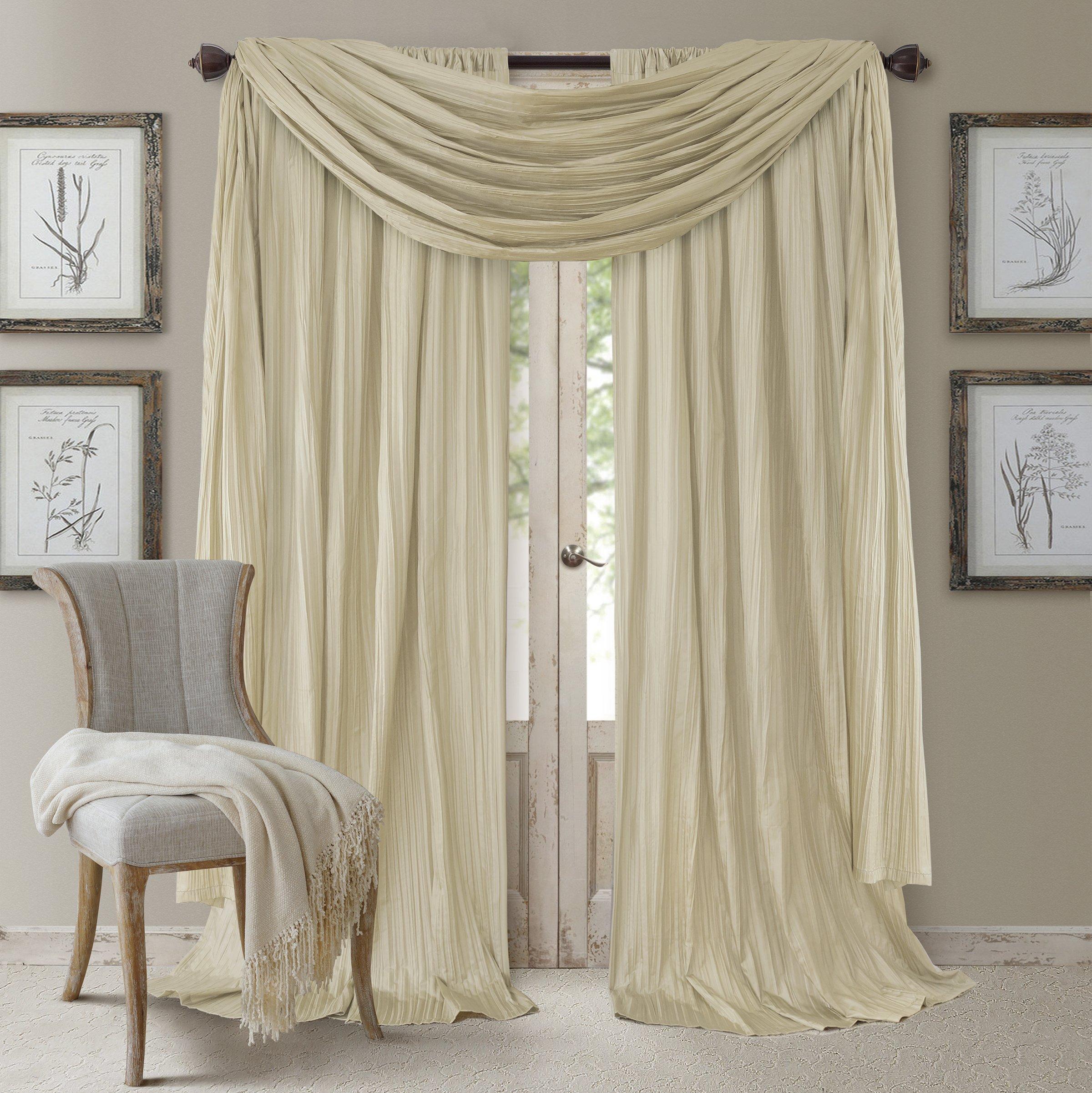 Elrene Home Fashions 26865857177 Window Curtain Drape Rod Pocket Panel, Set of 3, 52'' x 95'', Ivory, 52''x95'' Each (2 52''x216'' (1 Valance) by Elrene