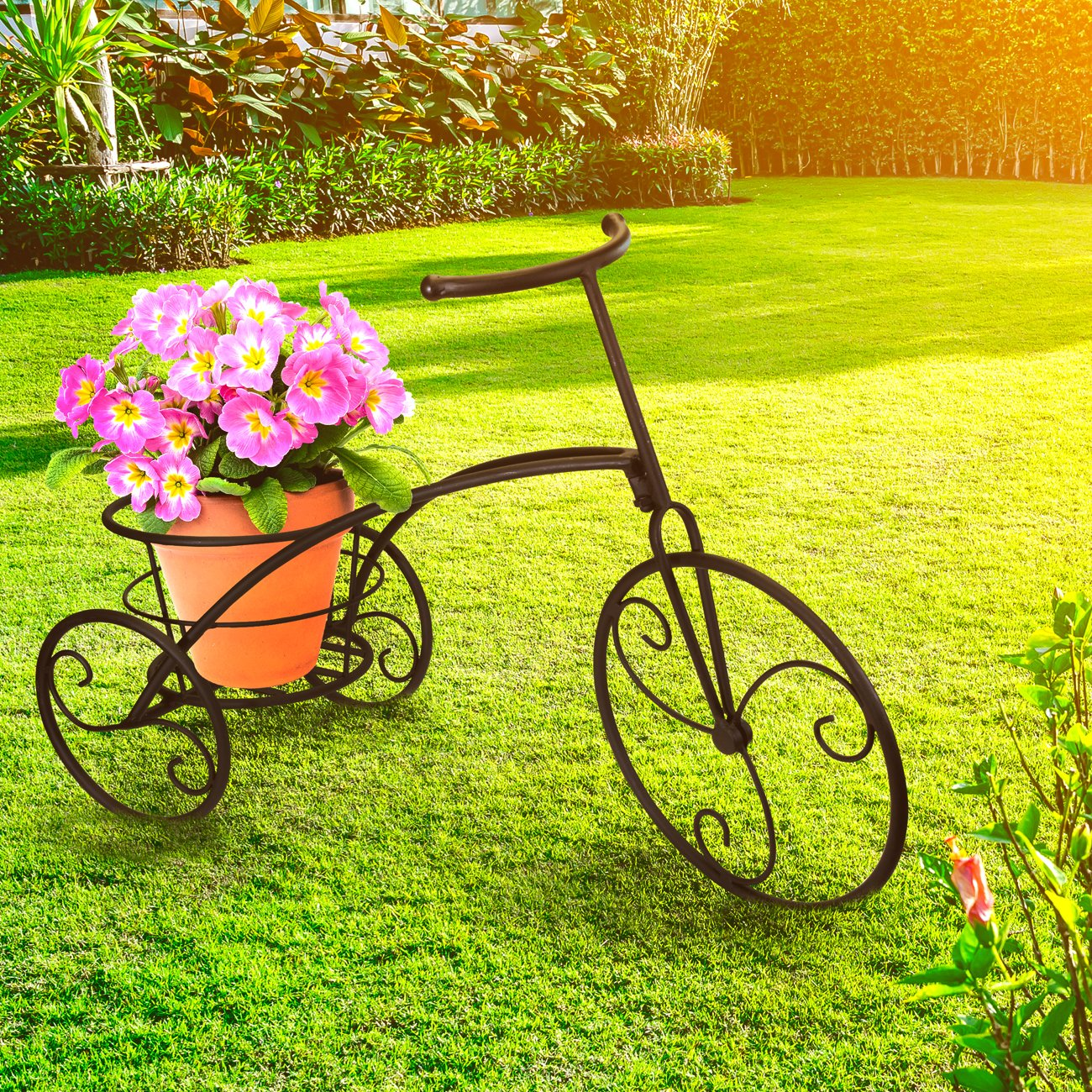 Sorbus Tricycle Plant Stand - Flower Pot Cart Holder - Ideal for Home, Garden, Patio - Great Gift for Plant Lovers, Housewarming, Mother's Day - Parisian Style (Single Pot, Bronze) by Sorbus (Image #2)