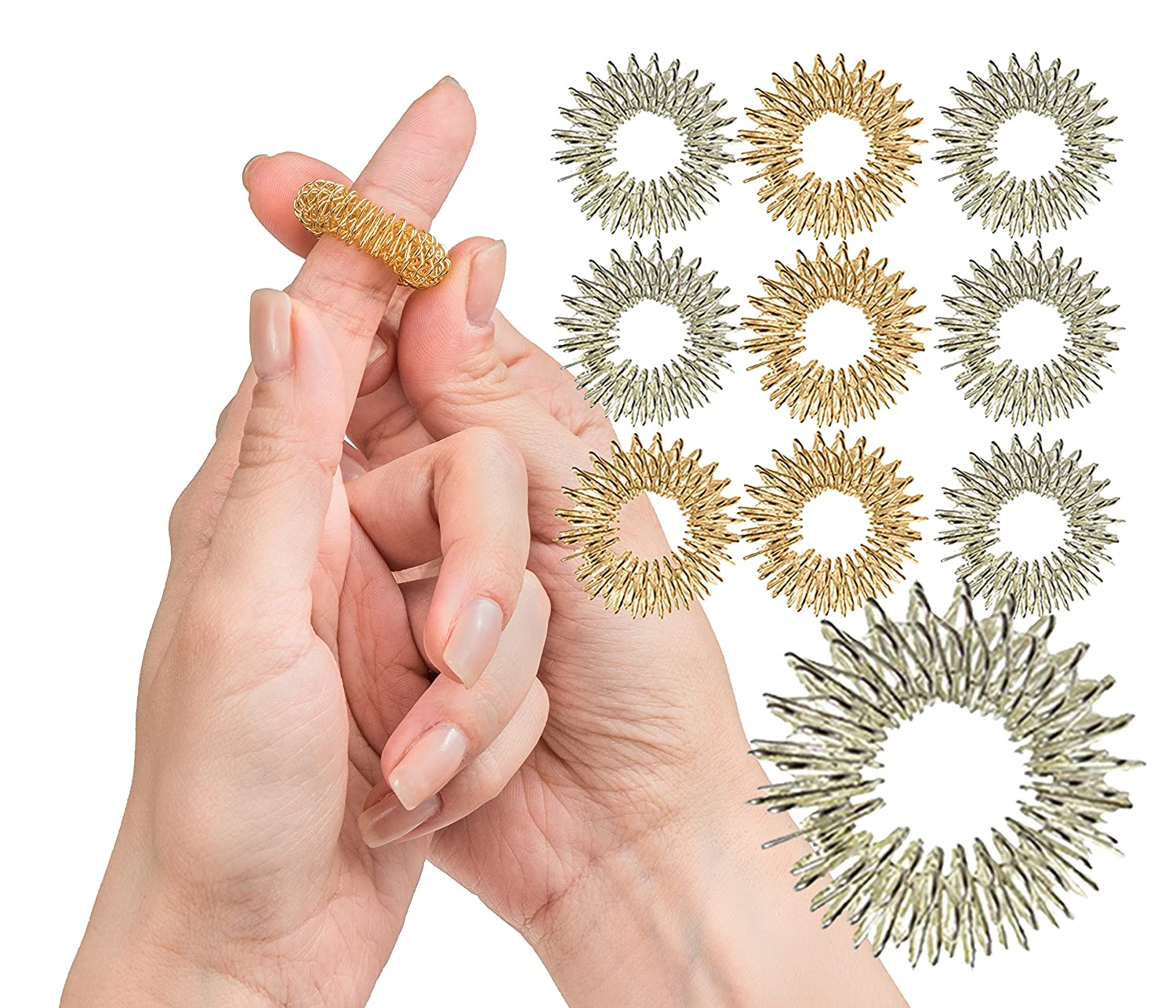 Spiky Sensory Finger Rings (Pack of 10) - Great Fidget/Sensory Toy for Kids and Adults - Spiky Finger Ring/Acupressure Ring Set Impresa Products BHBUSAZIN025487