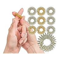 Spiky Sensory Finger Rings (Pack of 10) - Great Fidget / Sensory Toy for Kids and Adults - Spiky Finger Ring / Acupressure Ring Set