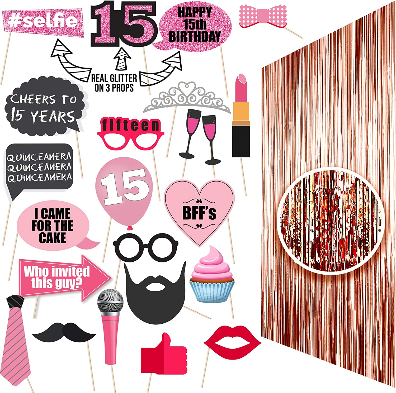 15th BIRTHDAY Photo Props| 15 Birthday Party Supplies| 15 Photo Booth Quinceanera | Backdrop Props or Photos 15th Birthday Decorations| Party Ideas Decor 15th Rose gold Photo Props Real glitter Fiesta