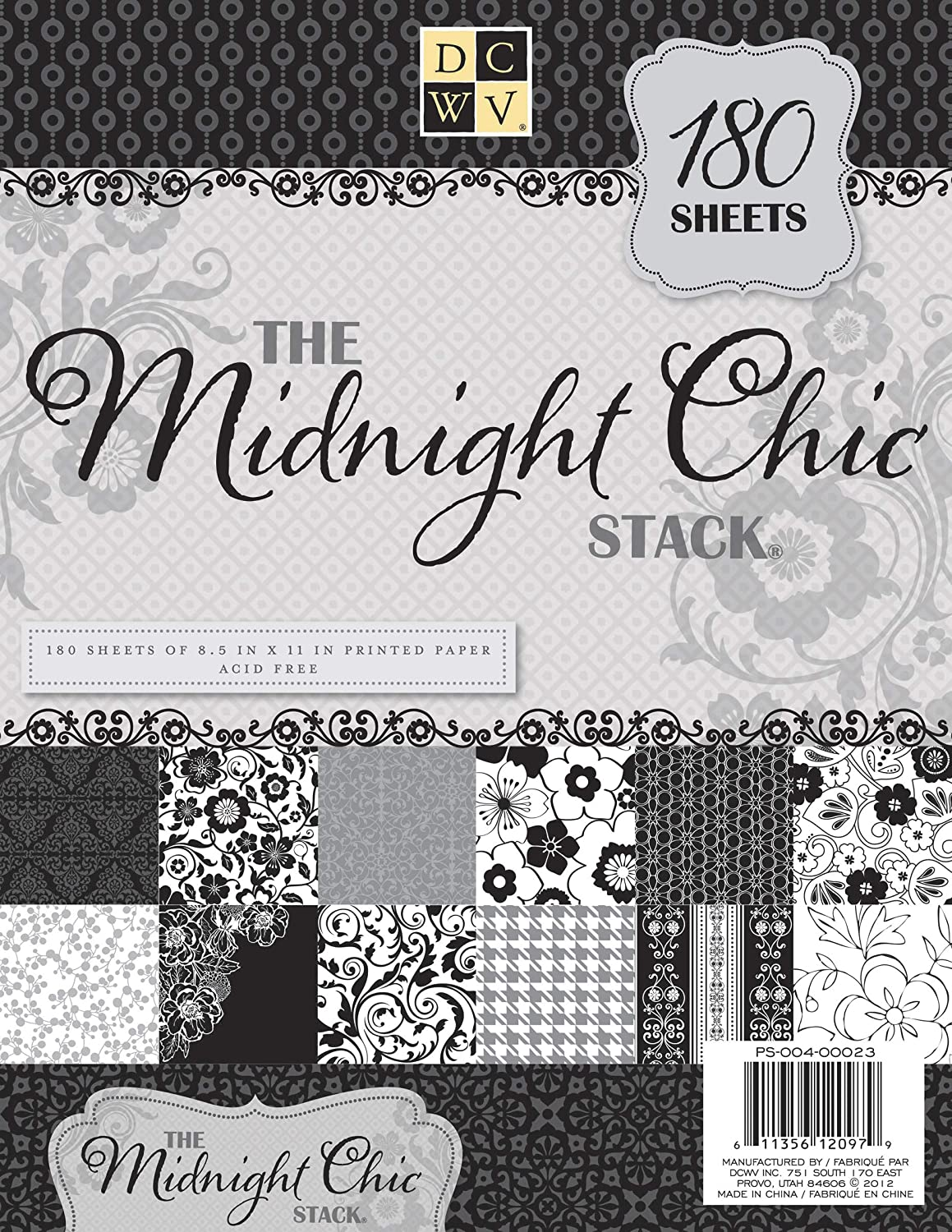 DCWV Card Stock Midnight Chic Stack Sheets, Multicolor