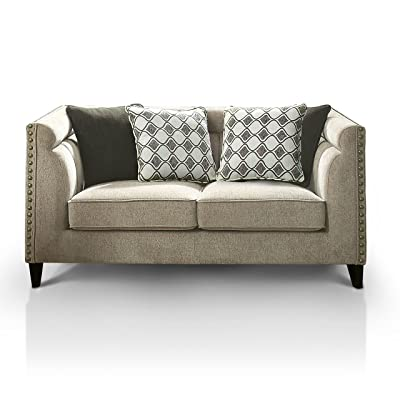 HOMES: Inside + Out IDF-6835-LV Kellie Tuxedo Living Room Love Seat, Warm Gray