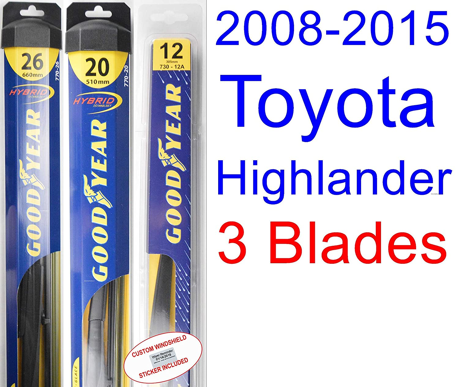 Amazon.com: 2008-2015 Toyota Highlander Wiper Blade (Rear) (Goodyear Wiper Blades-Hybrid) (2009,2010,2011,2012,2013,2014): Automotive