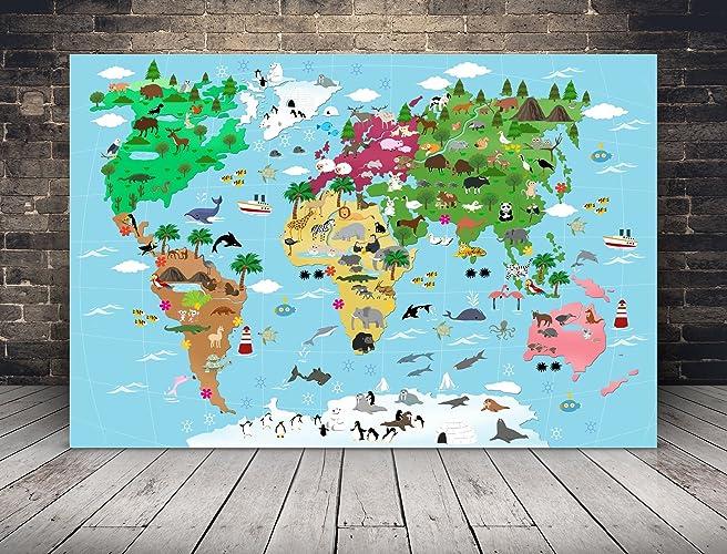 Leinwand Kinderzimmer | Xxl Illustrierte Weltkarte Fur Kinder Mit Vielen Sussen Tieren 120 X