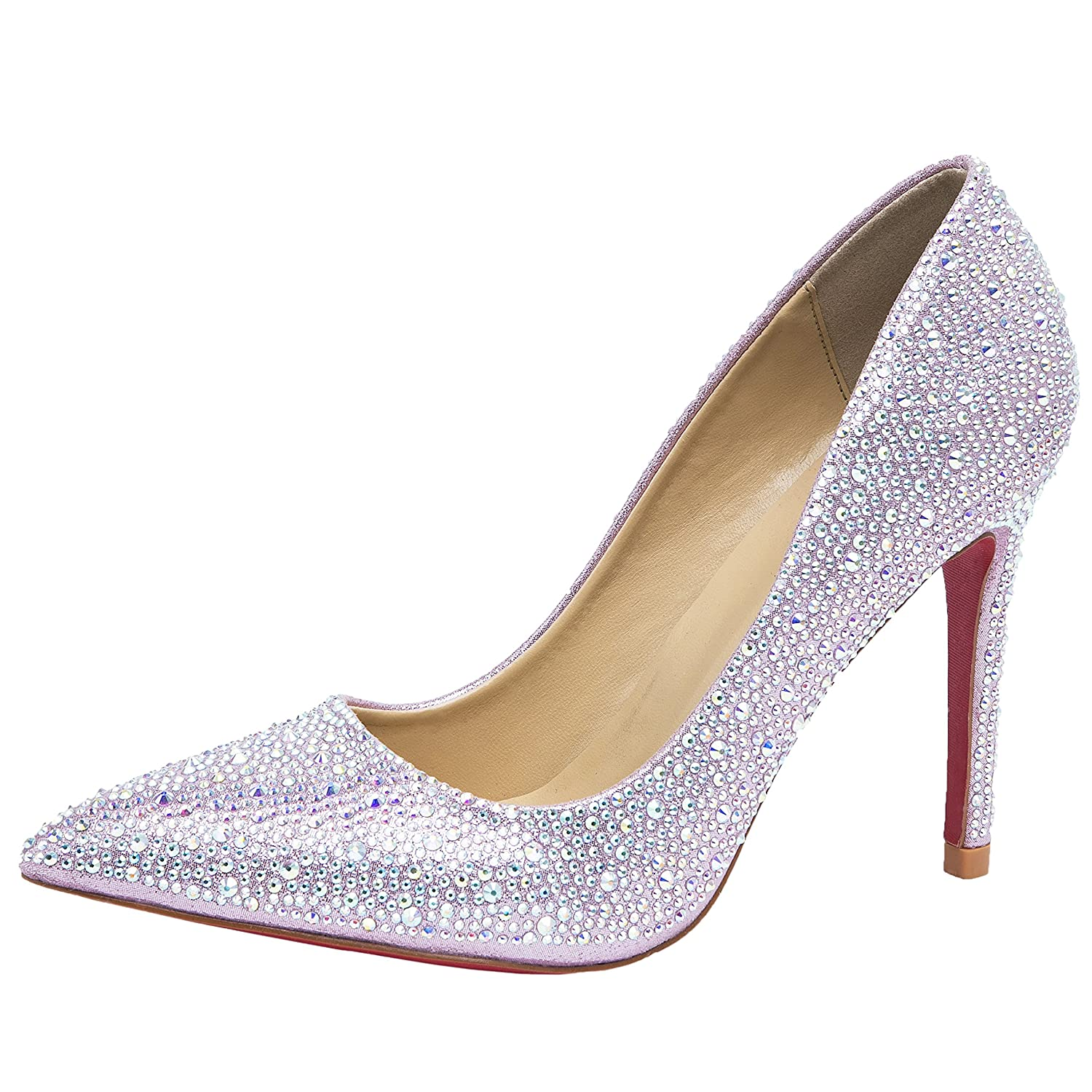 sports shoes 296b6 c8395 HOOH Women's Pumps Bling Crystal Pointed Toe Red Sole High ...