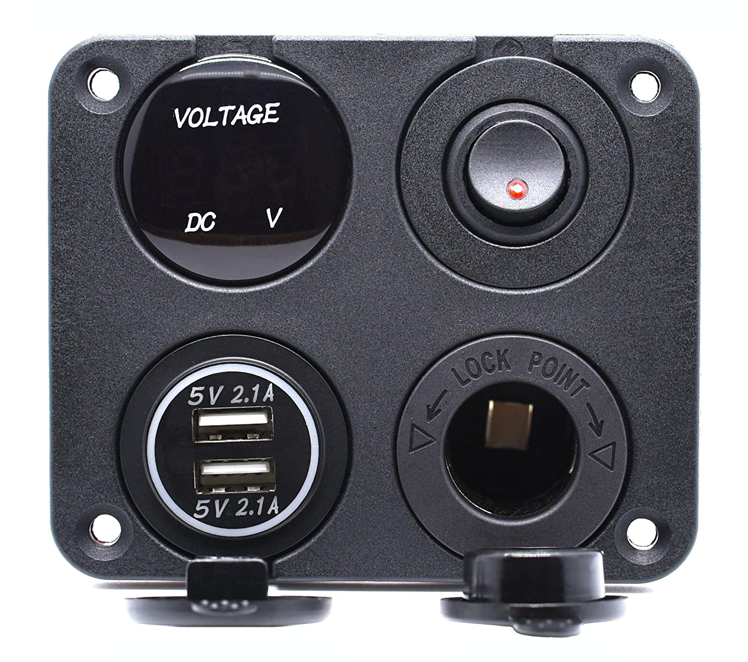 Voltmeter Usb Port Switch Rv Wiring Diagram 43 Socket Sl1500 Cllena Dual Charger 2 1a2 1a Led 12v At Cita