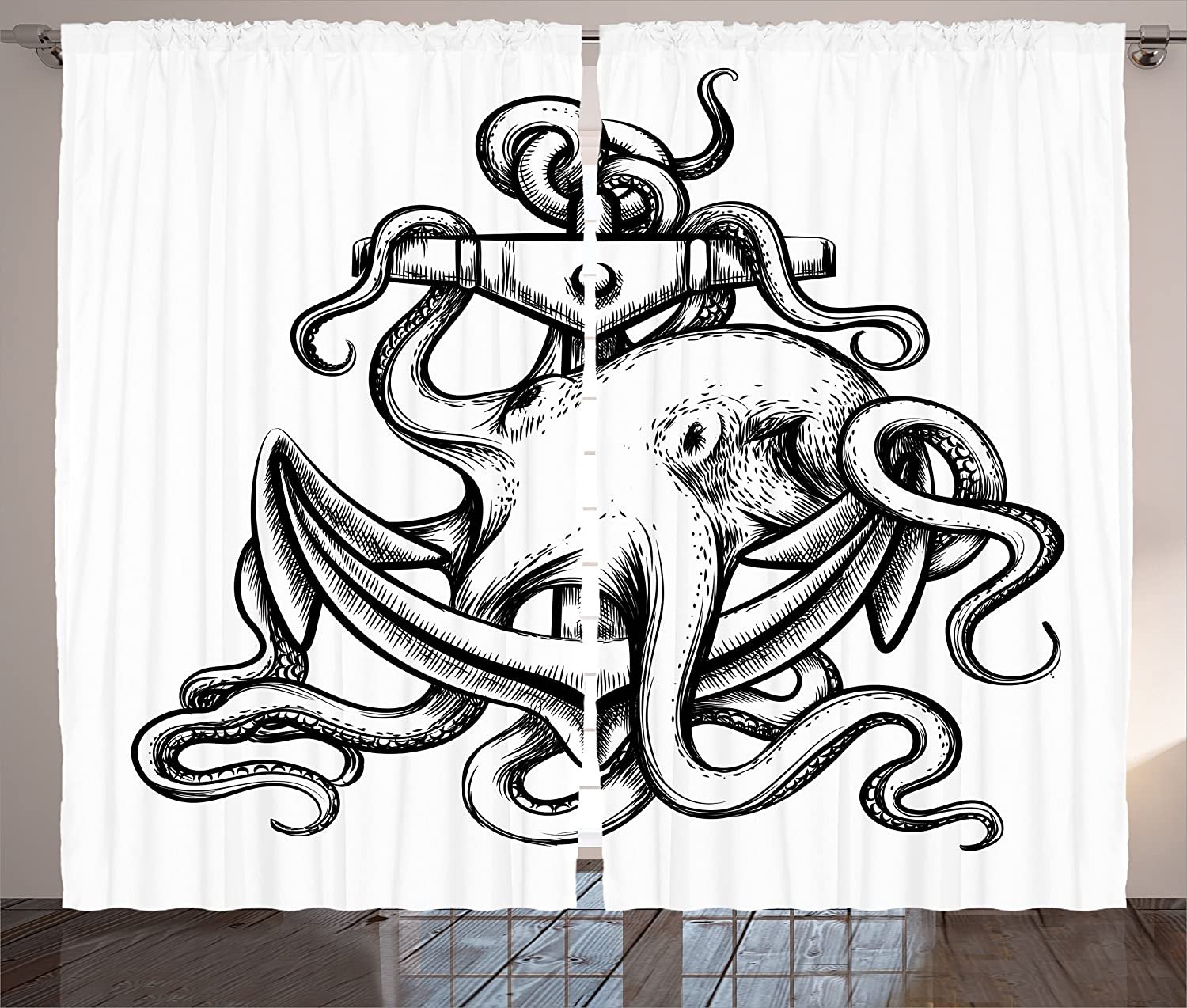 Octopus Decor Curtains