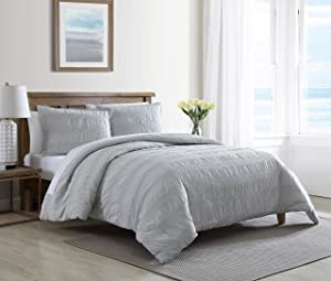 Nautica Home | Hampton Collection | Comforter Set - Cozy & Soft, Reversible Bedding with Matching Shams, Queen, Grey