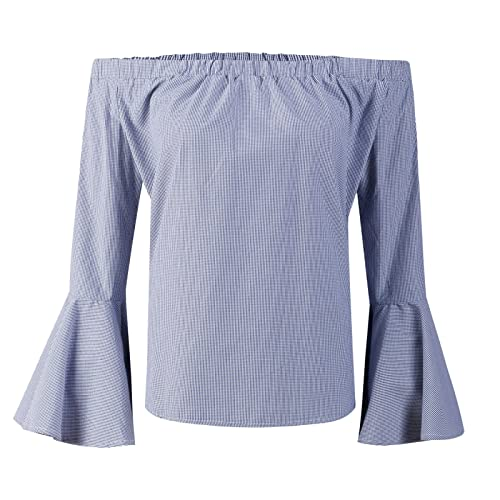 Beauty7 Camisetas Cuadro Mujer Verano Escote Bardot Off Hombro Mangas Pagoda Langa Suelte Parte Supe...