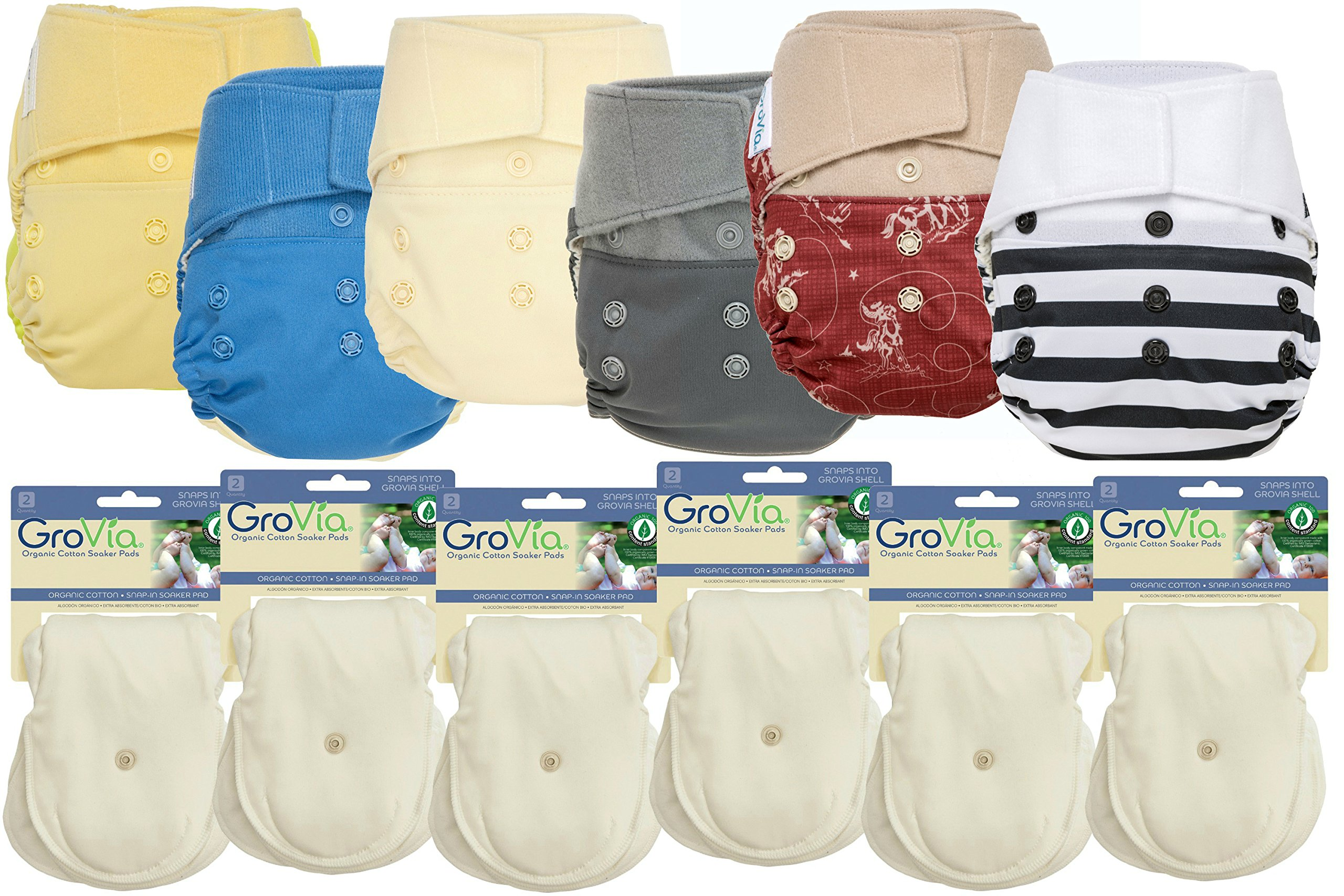 GroVia Hybrid Part Time Package: 6 Shells + 12 Organic Cotton Soaker Pads (Color Mix 1 - Hook & Loop)
