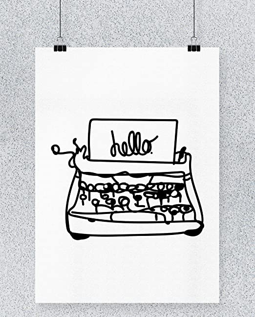 Compra Hippowarehouse Hello Typewriter Illustration Cartel ...