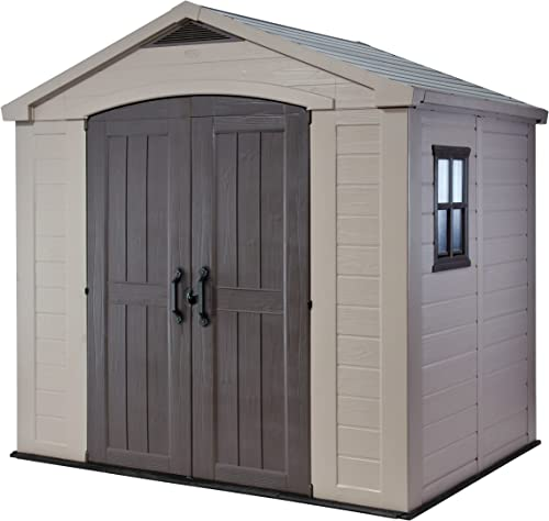 Keter Factor 8×6 Large Resin Outdoor Shed for Patio Furniture, Lawn Mower, and Bike Storage, Taupe Brown