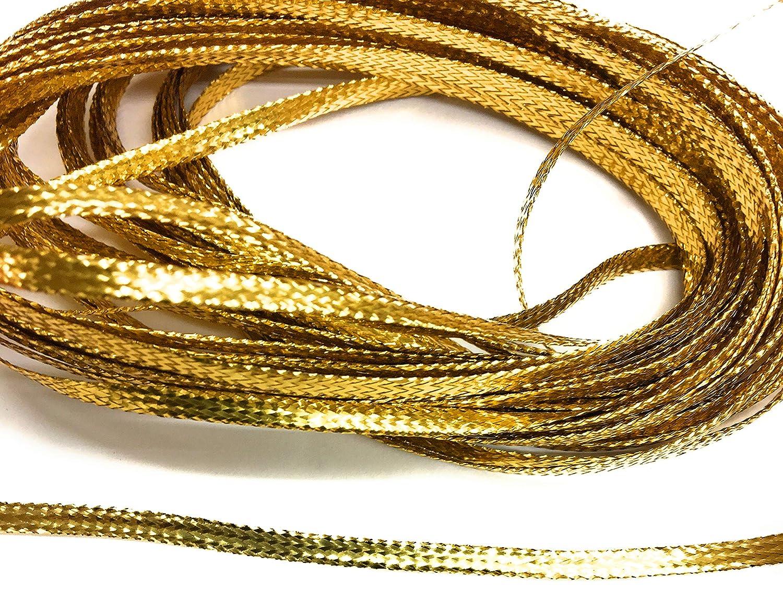 Decortive 10 Yards 4mm Weave Gold Braid Metallic Flat Gold Trims 1//8