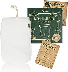 Lumaland Cuisine Nussmilchbeutel aus Reinen Fasern für vegane Nussmilchherstellung Inklusive Rezept in nachhaltiger Verpackung Mandelmilch Selber Machen Perfekter Milchersatz 100% Bio aus Hanf