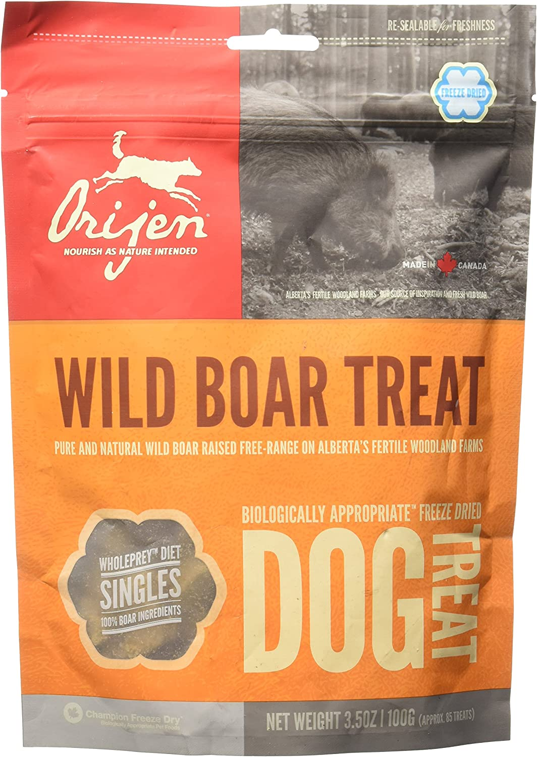 Orijen Alberta Wild Boar Singles Freeze-Dried Dog Treats, 3.5-oz bag approx. 85 treats