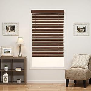 DEZ Furnishings QJBK224480 2 in. Cordless Faux Wood Blind, 22.5W x 48L Inches, Dark Oak