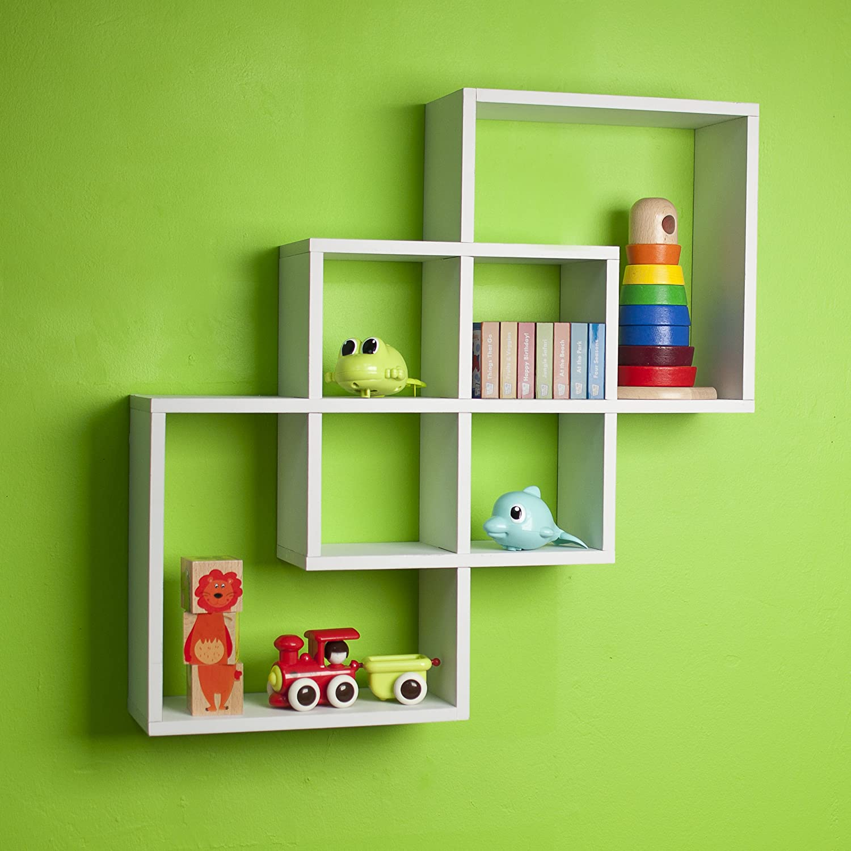 White Wall Shelves Part - 28: Amazon.com: Intersecting Squares Decorative White Wall Shelf: Home U0026 Kitchen