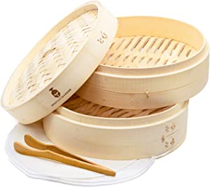 Bamboo Steamer Basket 10 Inch - Premium Quality 2-Tier Baskets - Healthy Cooking for Vegetables, Rice, Asian Dumpling, Chinese Dim Sum, Bao Bun - Includes Reusable Liners, Tongs and Recipe E-Book