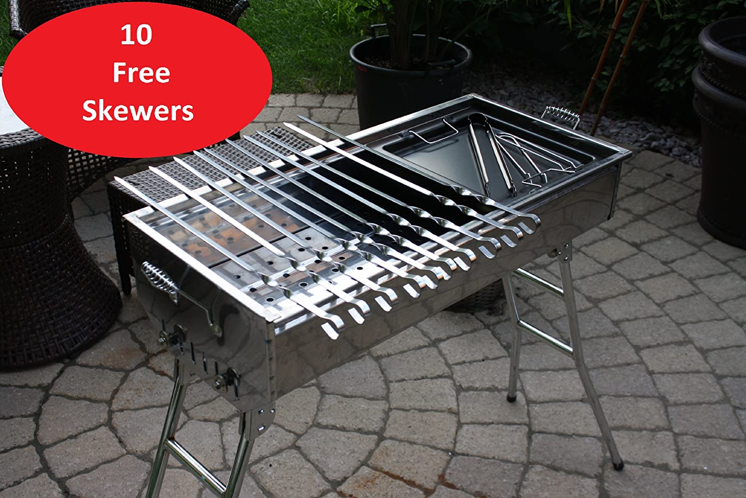 Amazon.com: Stainless Steel Charcoal Grill Kebab BBQ Portable Mangal:  Garden U0026 Outdoor