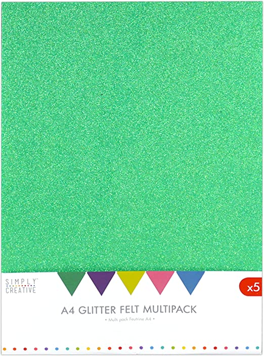 Simplemente Creative A4 Pack-Multi, Fieltro con Purpurina, Multicolor, 30 x 22 x 2 cm: Amazon.es: Hogar