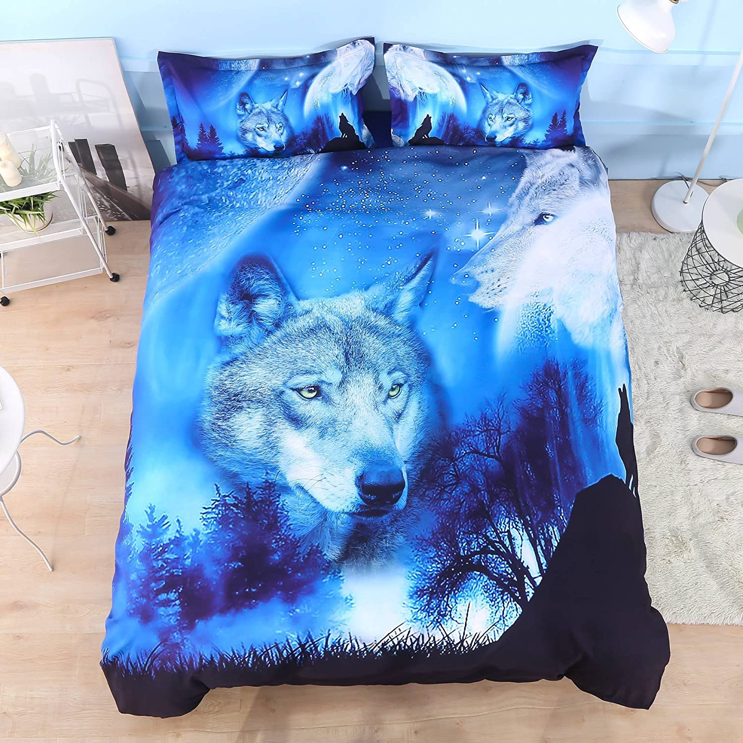 Wowelife Wolf sale Duvet Cover Set Full Co 4-Pieces 1 with Sale SALE% OFF Blue