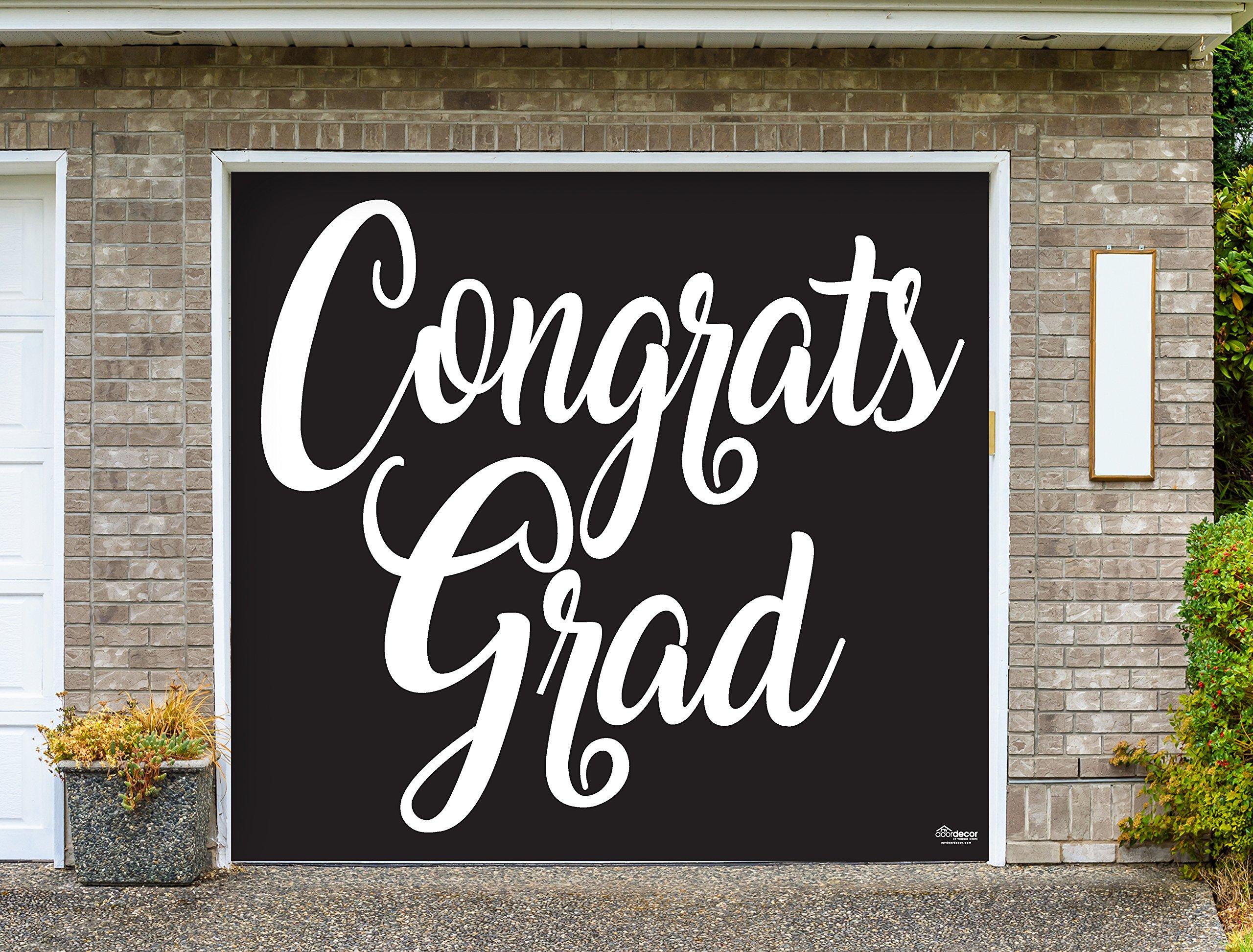 Victory Corps Congrats Grad Black - Outdoor Graduation Garage Door Banner Mural Sign Décor 7'x 8' Car Garage - The Original Holiday Garage Door Banner Decor