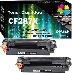 (2-Pack, Black, High Yield) GTS Compatible CF287A 87X CF287X Toner Cartridge 287X Used for HP Laserjet Enterprise M506 M506n M506x M506dn MFP M527 Series m527c Pro M501n M501dn Printer