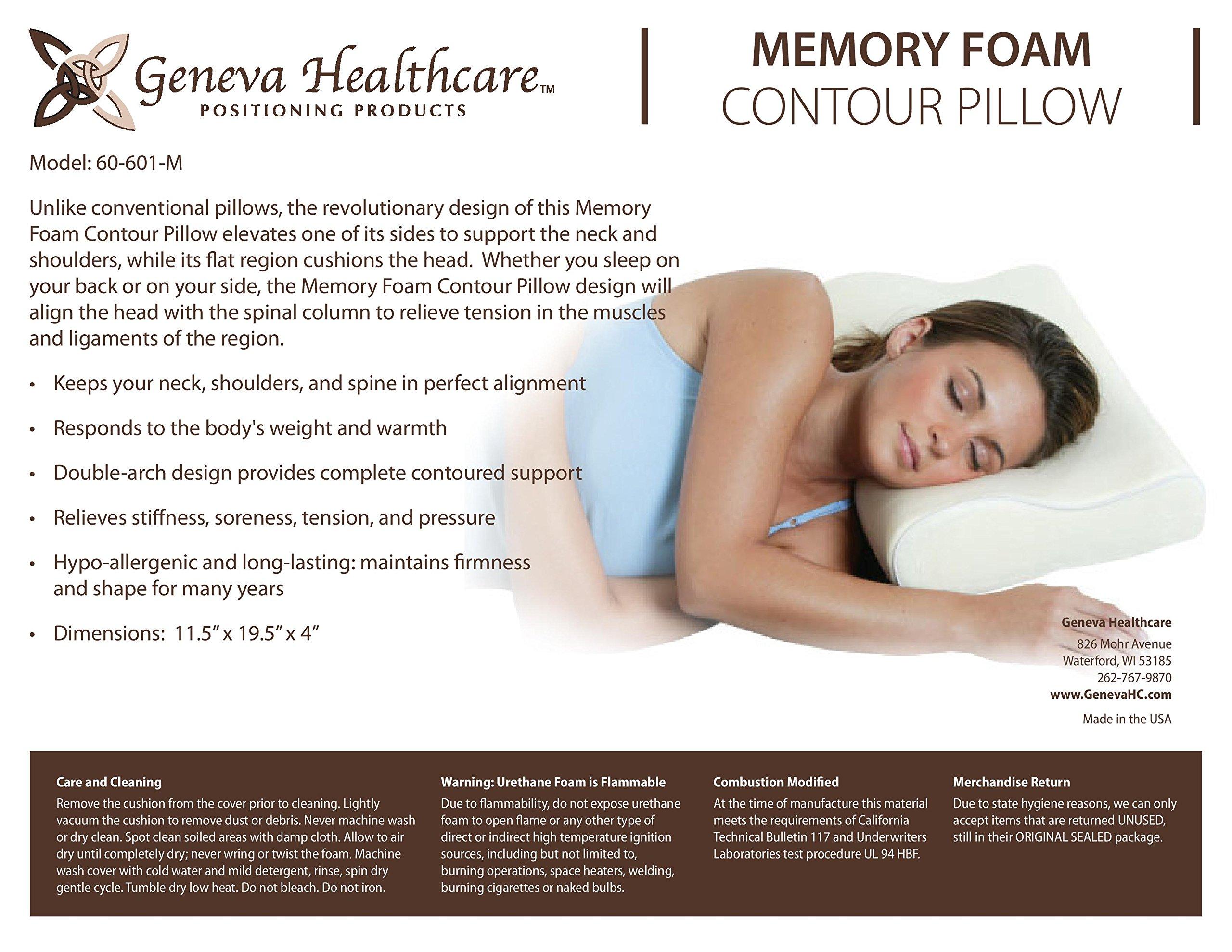 Geneva Healthcare Memory Foam Contour Pillow - 4'' x 12'' x 19'' - 1/EA