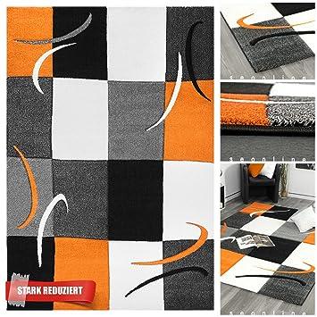 Erstklassiger Designer Teppich Kariert in Orange Grau Schwarz mit 3D ...