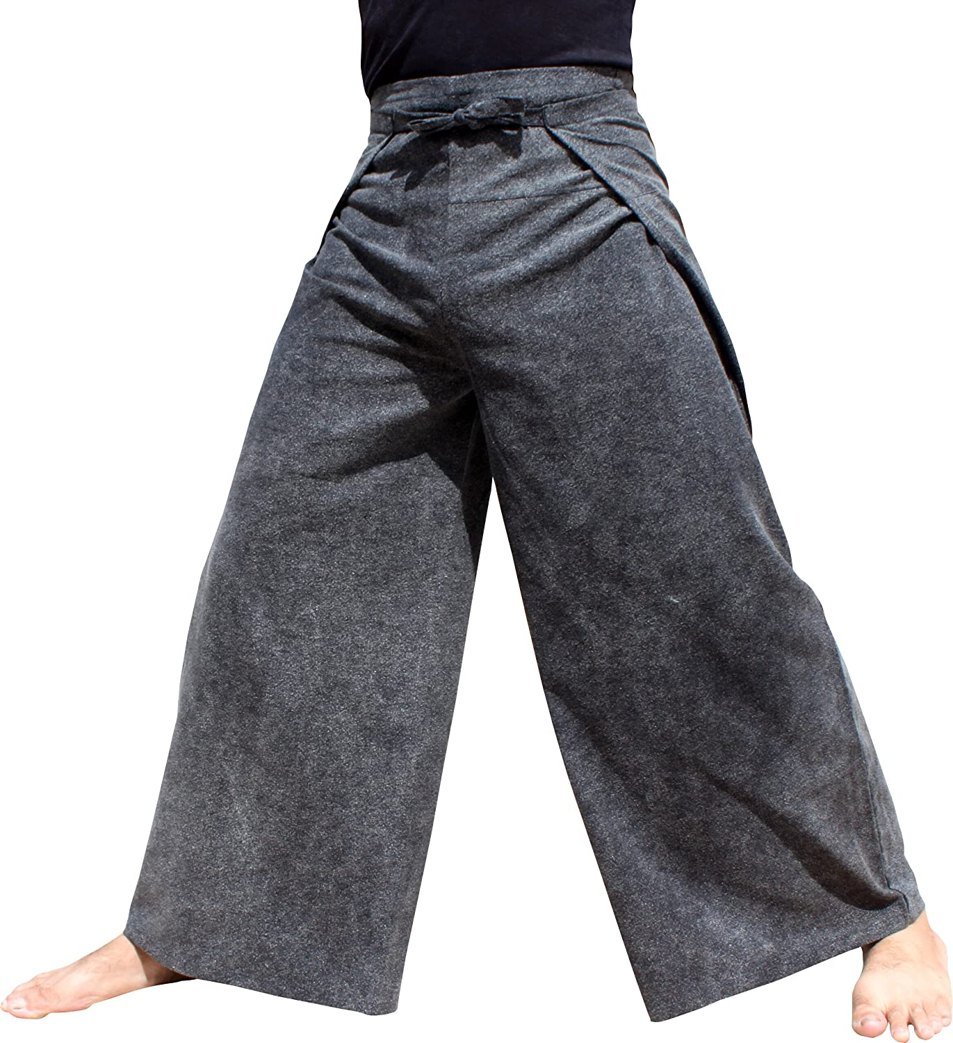 Muang Stonewadhed Cotton  Black RaanPahMuang Wide Leg Wrap Waist Tied Casual Toraijin Pants in Cottons