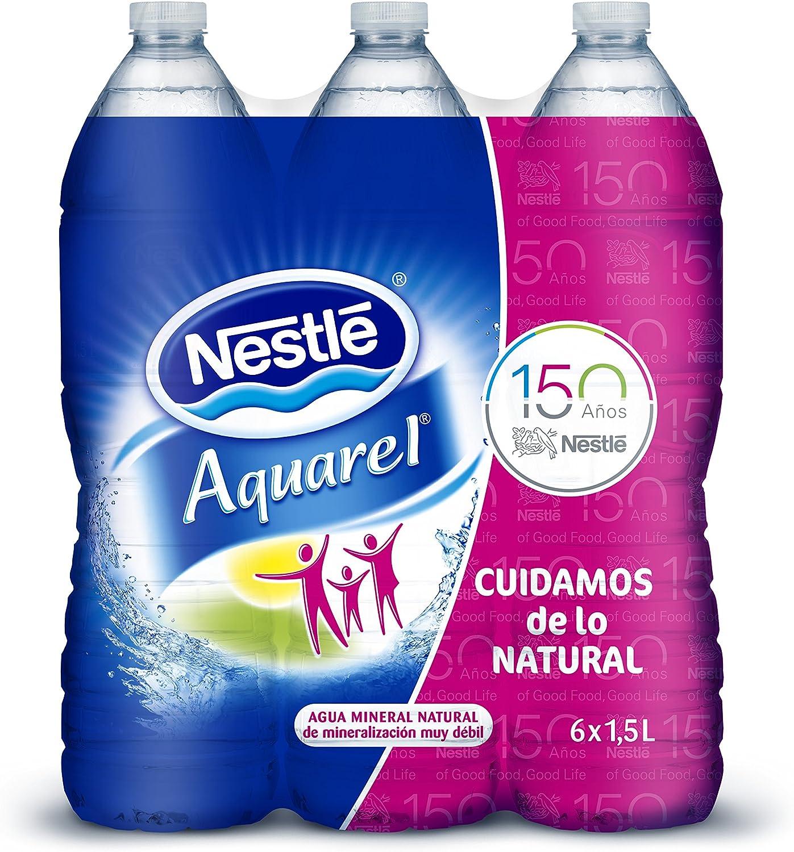 Nestlé Aquarel Agua Mineral Natural - Pack de 6 x 1,5 l - Total: 9 ...