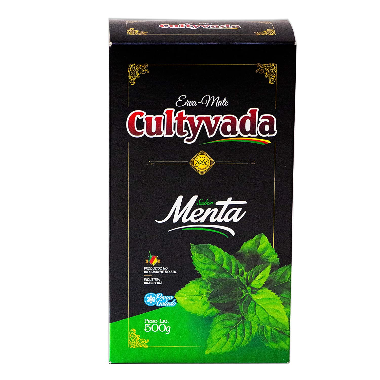 Circle of Drink - Cultyvada Mint (Menta) Chimarrao Erva Mate - Gourmet - Non-Aged - Super Fresh Green Brazilian Yerba Mate - Vacuum Sealed - 1.1 LB - 500g (1 PACK)
