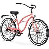 "sixthreezero Around The Block Women's Single Speed Cruiser Bicycle, Coral w/ Black Seat/Grips, 26"" Wheels/17"" Frame"