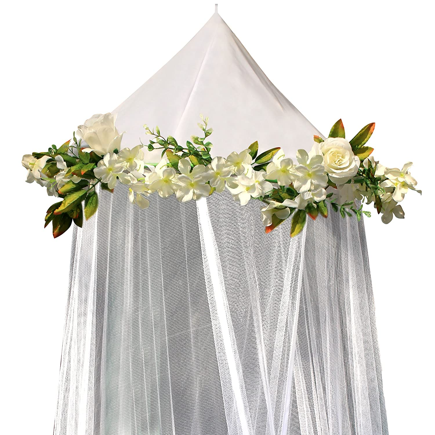 Bobo and Bee - Enchanted Bed Canopy Mosquito Net For Girls, Kids, Baby, With Detachable Cream Rose and Ivy Garland - Twin Size, White with Satin Trim - Perfect Boho Woodland Nursery Decor Wme Products Ltd 752589200059
