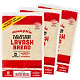 Joseph's Lavash Bread Value 3-Pack, Flax Oat Bran & Whole Wheat, Reduced Carb (4 Flatbreads per Pack, 12 Total)
