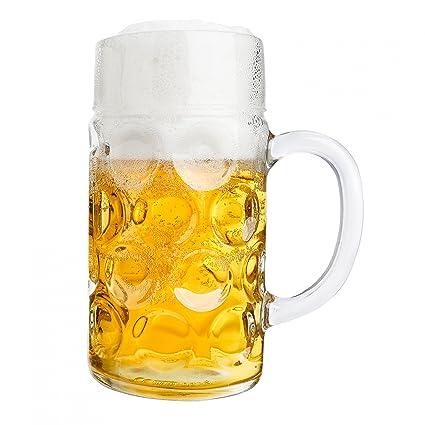 Van Well Jarra de cerveza (1 L calibrado, grande – Jarra de cerveza con