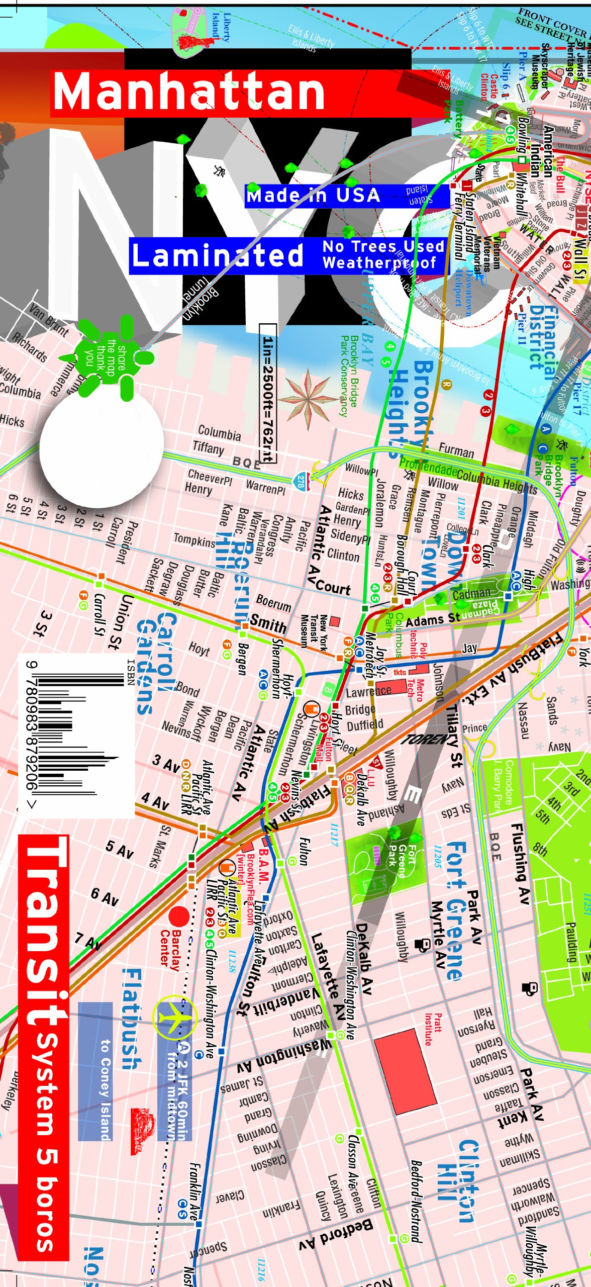 TerraMaps NYC Manhattan Street and Subway map Waterproof AR