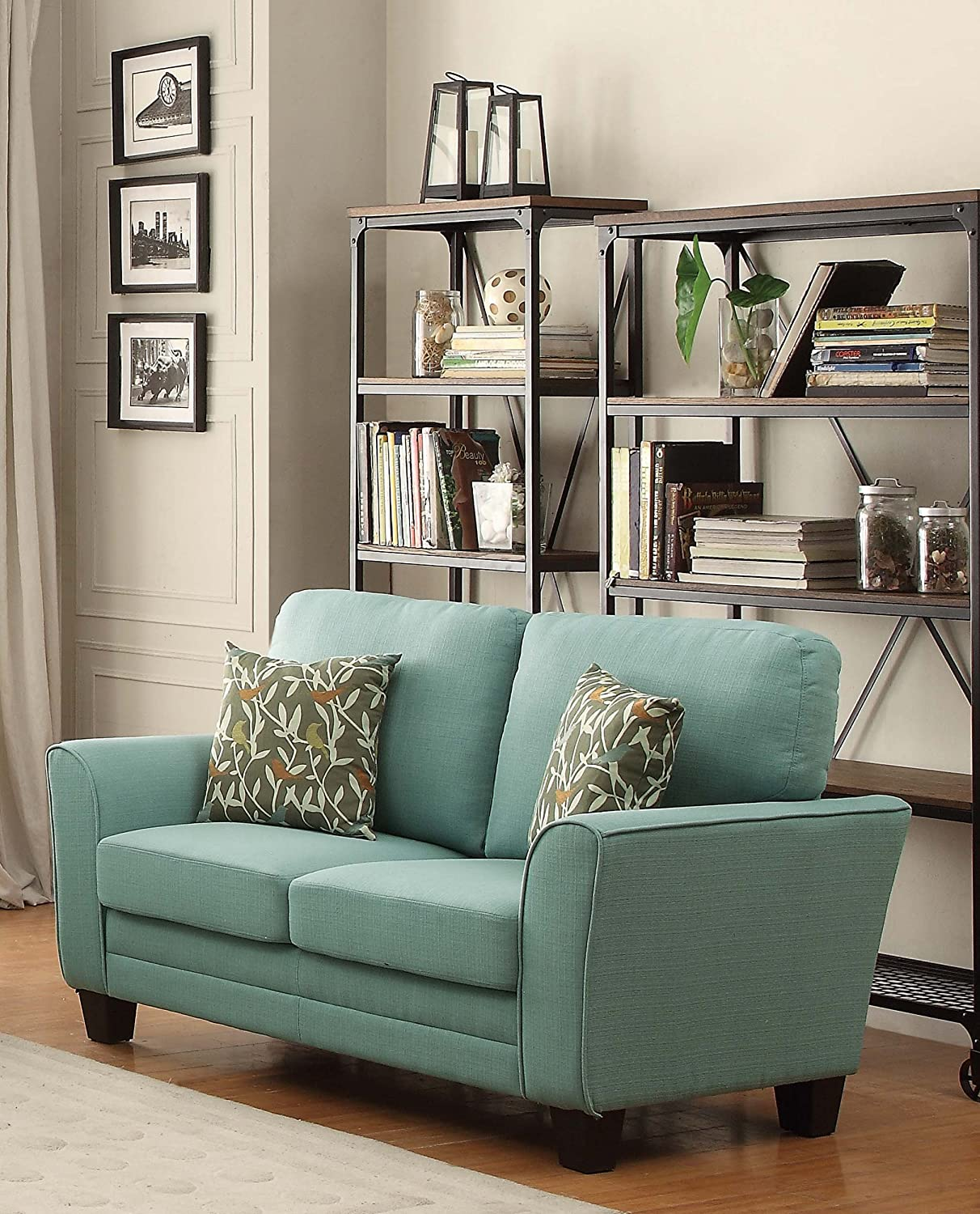 Homelegance 8413TL-2 Fully Upholstered with Piping Trim Linen Like Fabric Teal Love Seat