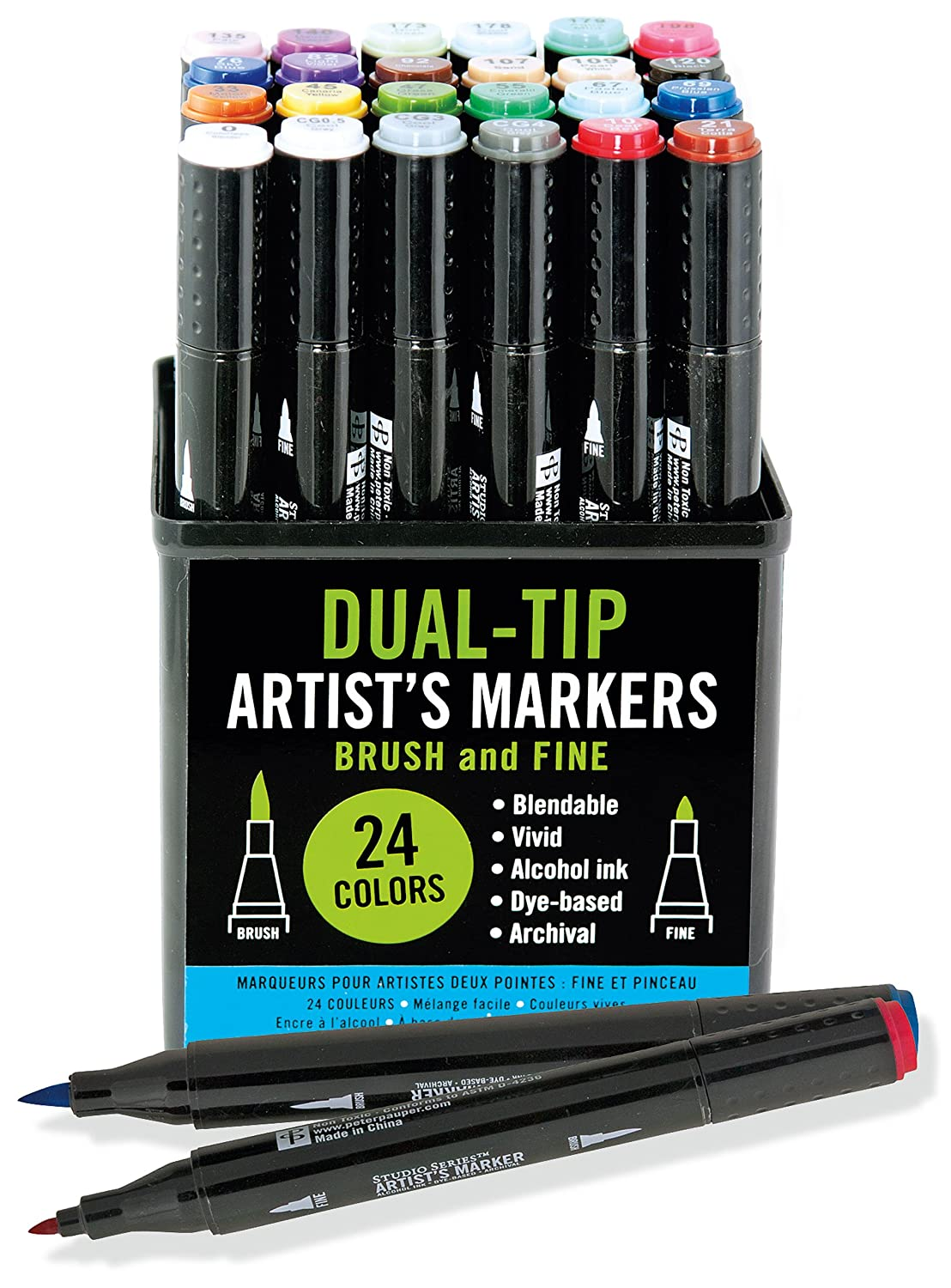 Studio Series Professional Alcohol Markers - Dual Tip - 24 Pack Peter Pauper Press 8411 Art / Non-Classifiable