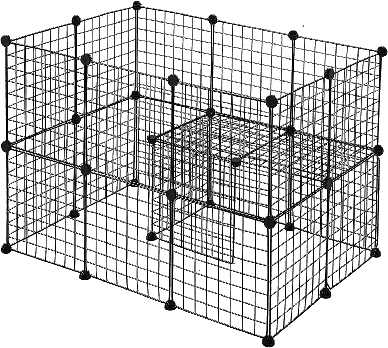 Youke Parque para Perros, Productos para Mascotas Cerca de jardín de Alambre metálico, Negro (24 Paneles)