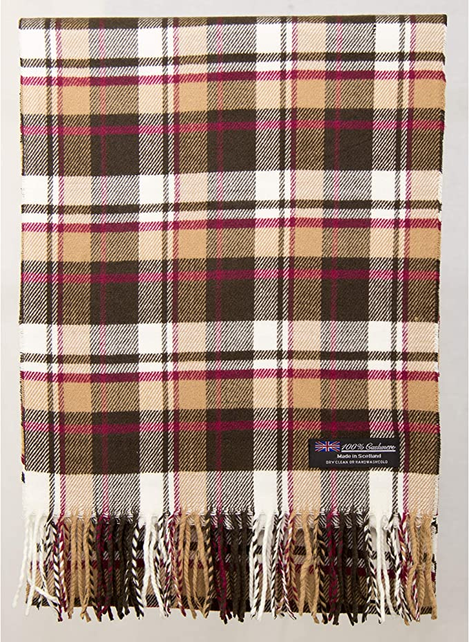 100/% Cashmere Scarf Brown Beige herringbone Check Plaid Soft Scotland Wool Men