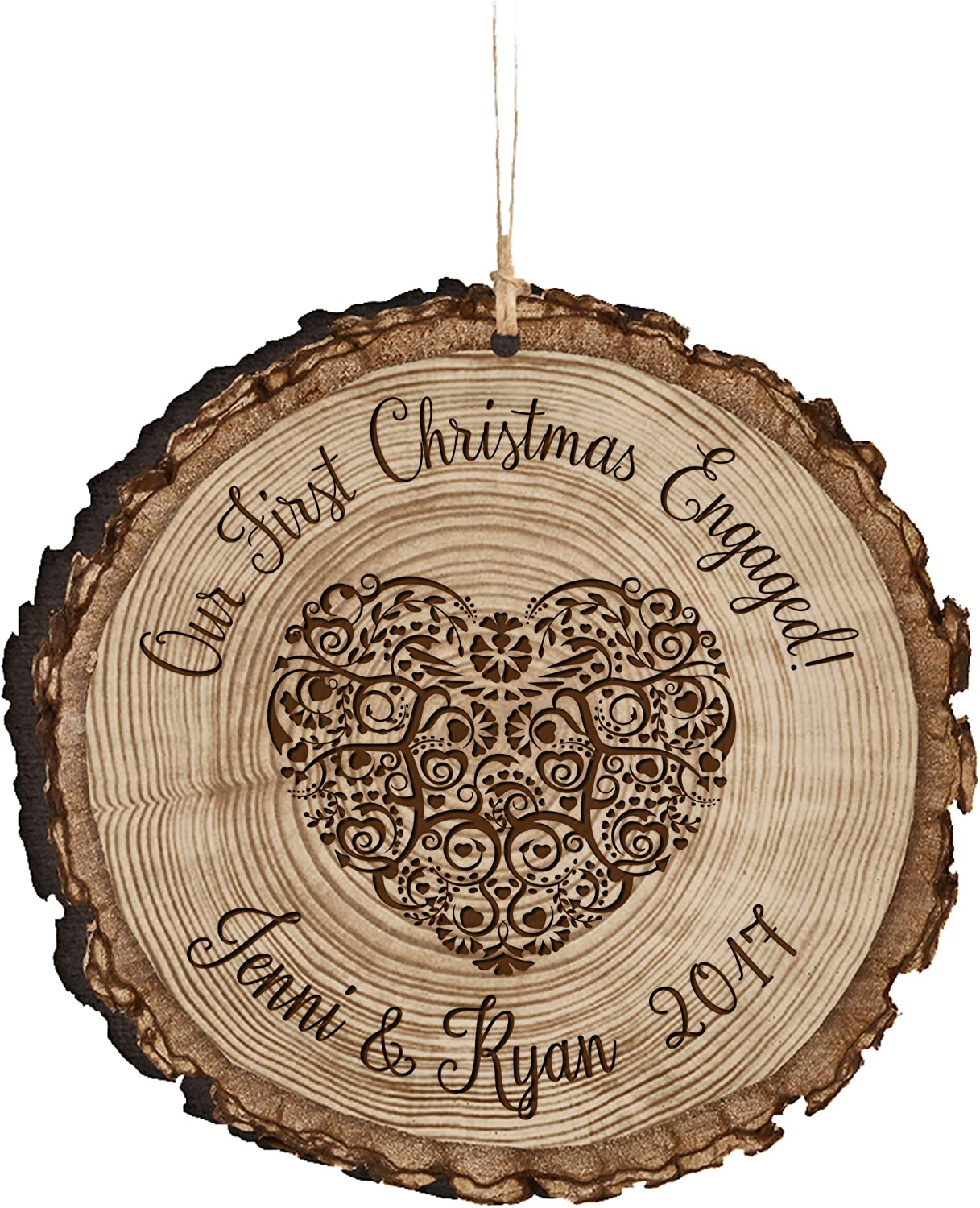 Amazon Com Lifesong Milestones Personalized New Couple Our First Christmas Engaged Ornament Custom Engagement Gift Ideas For Couple Him Her Our First Christmas Engaged Home Kitchen