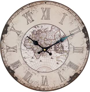 swagger 14x14 inches distressed european finish world map printed wooden vintage wall clock